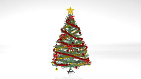 Photo for Christmas Tree with decorations and ornaments isolated on white background - Royalty Free Image