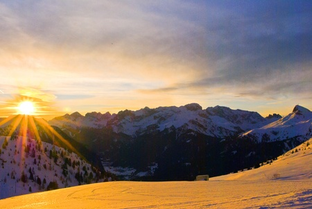 Alpine sunset in the mountains of the Dolomites