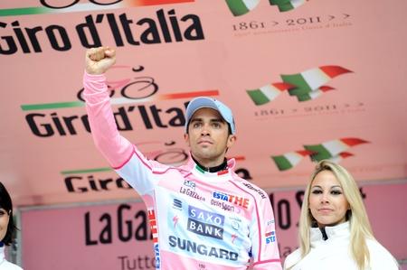 CORTINA D'AMPEZZO, ITALY - MAY 22: Giro D'Italia from Conegliano  to Gardeccia / Val di Fassa May 22, 2011 in Cortina D'Ampezzo, Italy. Biker Alberto Contador during the 94th