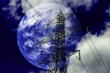 Electricity pylons with with planet earth.