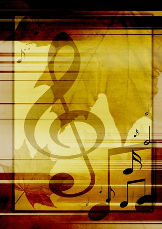 Background in retro - style, with musical symbols and maple leaves
