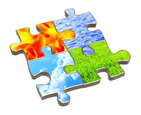 Puzzle with four elements of nature. Object over white