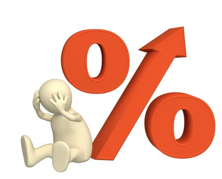 Conceptual image - increase of the interest rate under credits