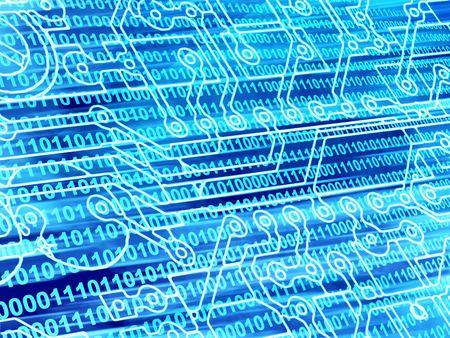 Blue background with Internet symbols