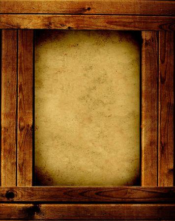 Wooden frame - object over white