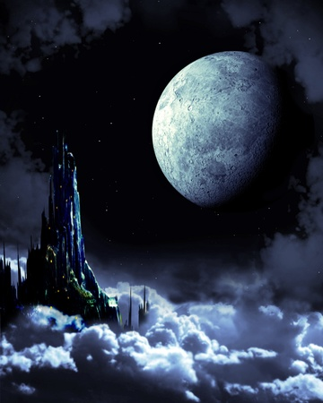 Night fairy-tale. Fantasy landscape with castle