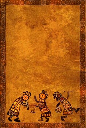 Dancing musician. Background with African traditional patterns