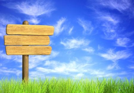 Photo pour Wooden signboard. Object on blue sky - image libre de droit