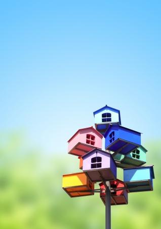 Photo pour Colorful nesting boxes on blue sky - image libre de droit