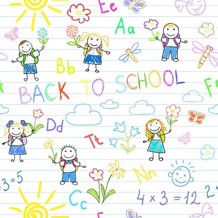 Foto de Seamless background. Back to school. Sketches with happy pupils. Sketch on notebook page - Imagen libre de derechos