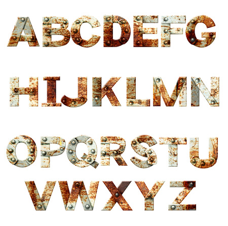 Alphabet - letters from rusty metal with rivets. Isolated on white background