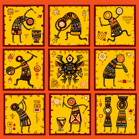 Collection of 9 patterns with African ethnic patterns of yellow, orange, black and red colorのイラスト素材