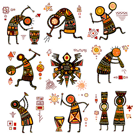 African ethnic patterns of yellow, orange, black and red colorのイラスト素材