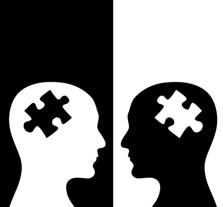 Photo pour Contrast concept. Two humans profiles of white and black colors with brains in the puzzle form. Isolated on black and white backgrounds - image libre de droit