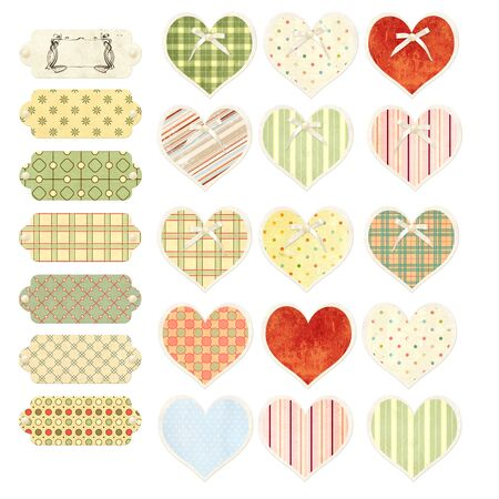Collection of valentine hearts  and labels in shabby chic style with paper texture, pearl and bow