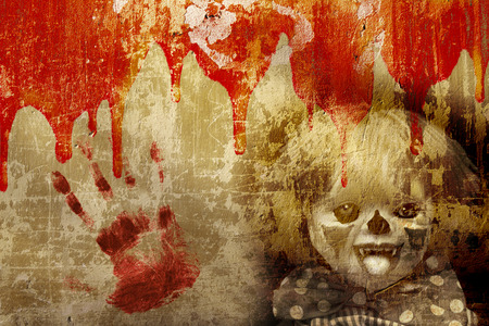 Grunge Halloween Background With Old Stucco Wall Texture Blood And Spooky Clown Royalty Free Images Photos And Pictures Blood on the wall (2020). grunge halloween background with old