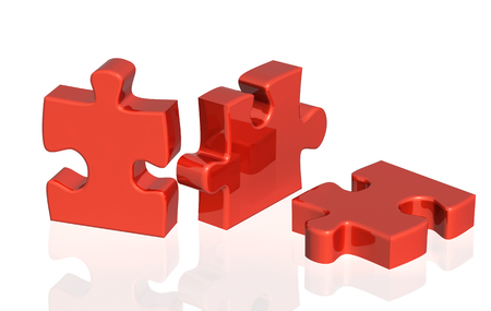 Photo pour Three parts of a puzzle of red color. Objects on glossy white background. 3d render - image libre de droit