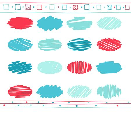 Collection of retro scribbled circular lines with hand drawn style of blue and red color.