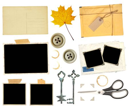 Photo for Set of elements for scrapbooking. Object isolated on white background. Vintage scissors, retro paper card, dry yellow maple leaf, keys, sellotape, stain of tea, coffee, old photo, postcard, button, photo corners - Royalty Free Image