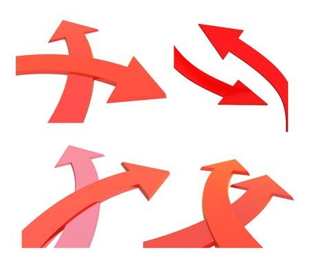 Two bound arrows specifying different directions, fork of two roads with arrow. Isolated on white background. 3d render