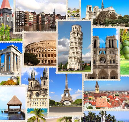 Photo pour Vintage travel background with retro photos of european landmarks. Eiffel tower in Paris, Leaning Tower of Pisa, Colosseum in Rome, old houses in Amsterdam - image libre de droit