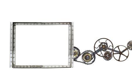 Photo pour Metallic frame with vintage machine gears and retro cogwheel. Isolated on white background. Mock up template. Copy space for text. Can be used for steampunk and mechanical design - image libre de droit