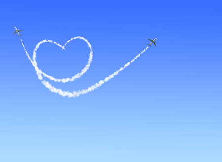 Photo pour Two aircrafts draw a heart in the sky. Flight route of aircraft in shape of a heart. Love concept for traveling the world. Copy space for text - image libre de droit