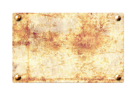 Photo pour Old metallic plank with rusty texture and vintage nails. Isolated on white background. Mock up template. Copy space for text. 3d render - image libre de droit