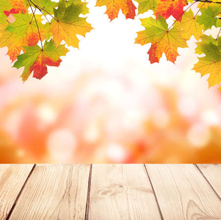 Foto de Old wooden desk with nature fall background. Vintage wooden table top and maple leaves on blurred autumn backdrop. Mock up template. Copy space for text - Imagen libre de derechos