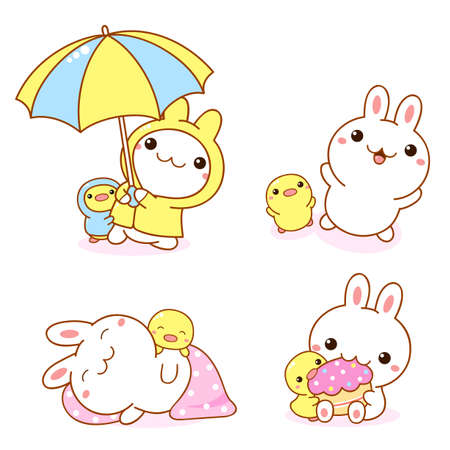 Photo pour Set of kawaii bunny and duckling. Cute little duck and rabbit friends in raincoats and with an umbrella, sleeping, eating a cupcake, playing. Vector illustration EPS8 - image libre de droit