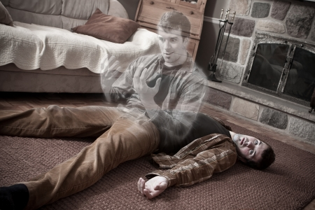 Happy soul leaving a corpse lying on the living room floor