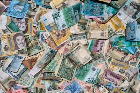 Collection of all over the world paper money. HDRI image