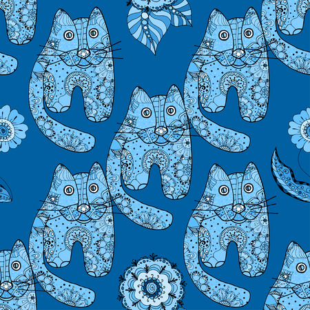 Multicolored funny hand drawn cats vector seamless pattern
