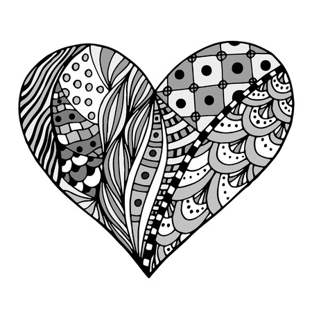 LOVE Heart PDF Zentangle Coloring Page | Etsy | 450x450