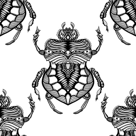 Vector seamless pattern with Black and white hand drawn zentangle stylized beetle. Doodle bugs.