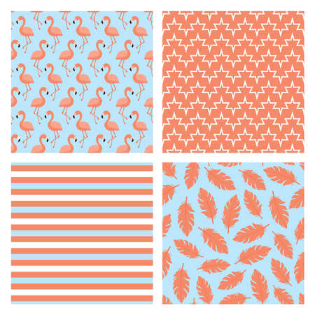 Illustration for Set of four seamless patterns with flamingo birds, pink feathers and stripes - Royalty Free Image
