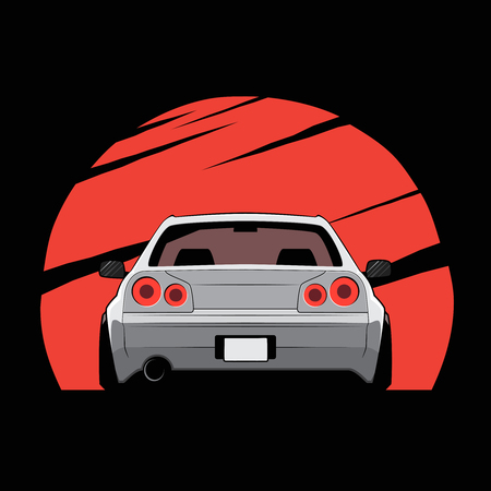 Cartoon Japan tuned car on red sun background back view vector illustration.