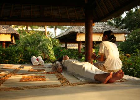 White woman on massage in Bali salon