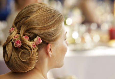 The girl with a wedding hairdress