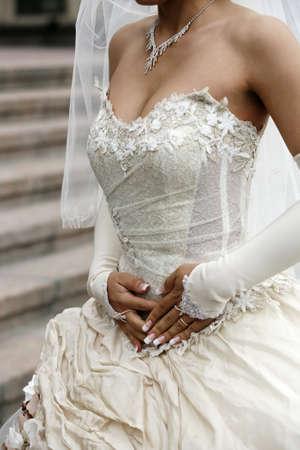 Detail of a silk wedding dress