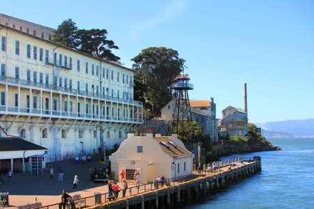 San Francisco, California, USA - September 28, 2011: These men and women and children are enjoying the views of what was Alcatraz Prison now a National Park in San Francisco Bay California, located in the bay and accessable only by the licensed boat compa