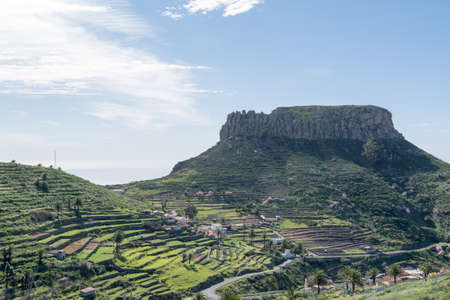 Fortaleza de Chipude, prominent mountain, gomera, canary island, spain. Gomera is one of the most attractive canary islands, depending to spain. It is a vulcan island. you can reach gomera by taking the ferry from teneriffa. No international flights arriv