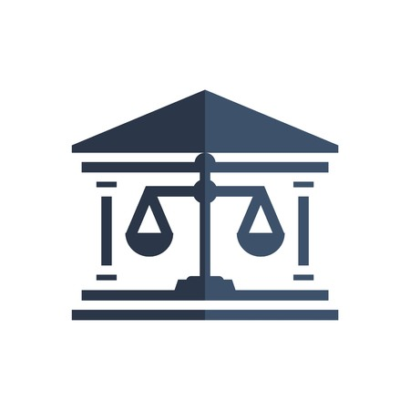 Law firm logo icon with vintage scale in balance symbol