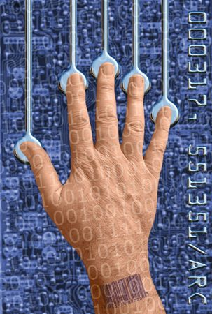 hand interfacing with technology/undergoing a biometric scan