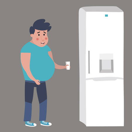 Fat man goes to the fridge. Vector illustration