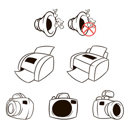 Vector icons set collection.Printer, mfp, megaphone. Vector black symbols isolated on white background