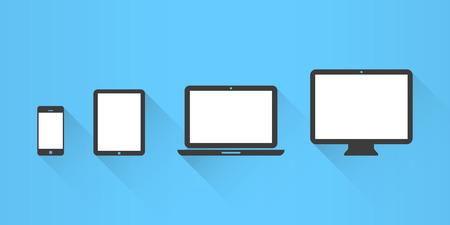 Device Icons: smartphone, tablet, laptop and desktop computer. Flat design