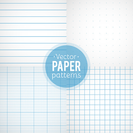 Illustration pour Vector set of paper patterns. Ruled, dotted, millimeter and squared papers - image libre de droit