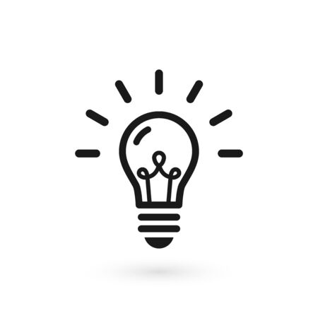 Illustration for Black light bulb glowing icon. Isolated electric lamp on white background with filament and abstract rays. Vector illustration, flat design - Royalty Free Image