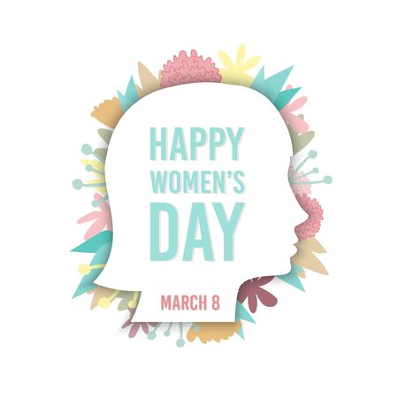 Illustration pour Happy Women's Day. 8 March. Woman profile with hand drawn flowers. For greeting card, web banner, flyer. Vector illustration, flat design - image libre de droit